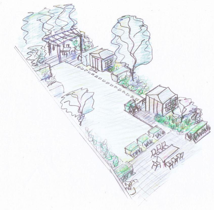 garden sketch Caro Garden Design